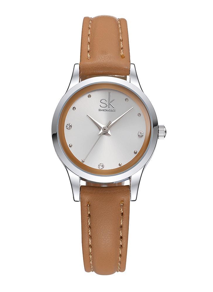 Quartz Watch SK Casual Strap PU Diamante água 30m Mulheres resistentes