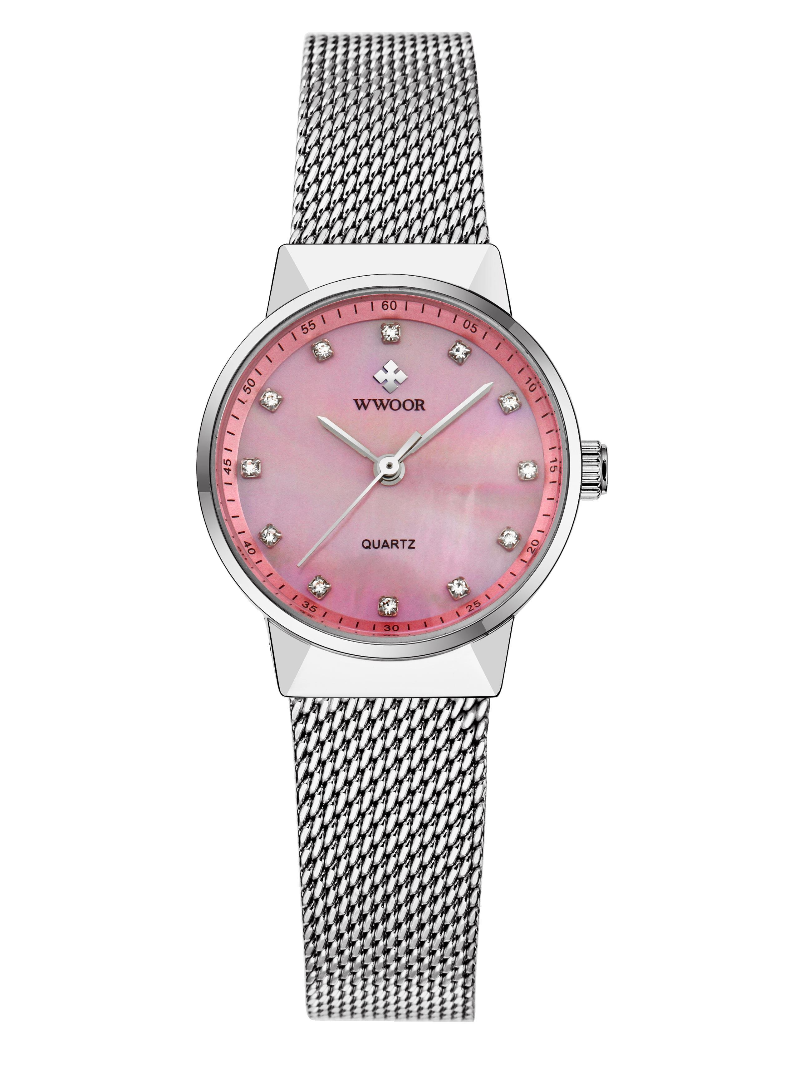 WWOOR Модная бриллиантовая сетка из нержавеющей стали Кварцевые женские часы