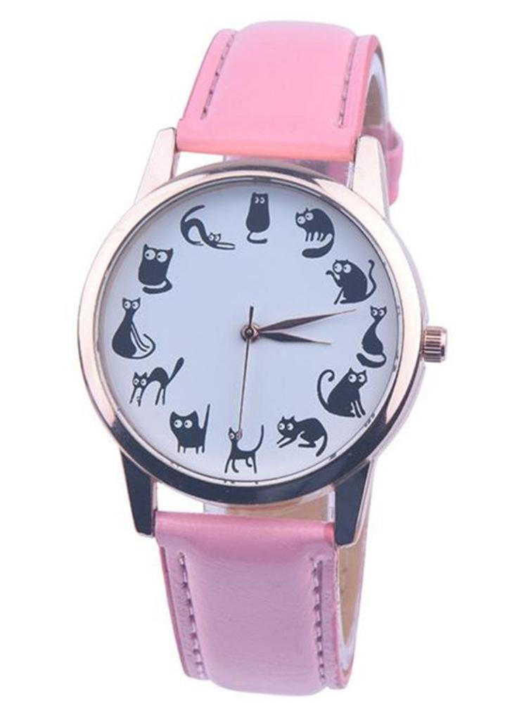 OKTIME Neue Karikatur-Art und Weise wenig Katze-Muster-Quarz-Frauen-Uhren