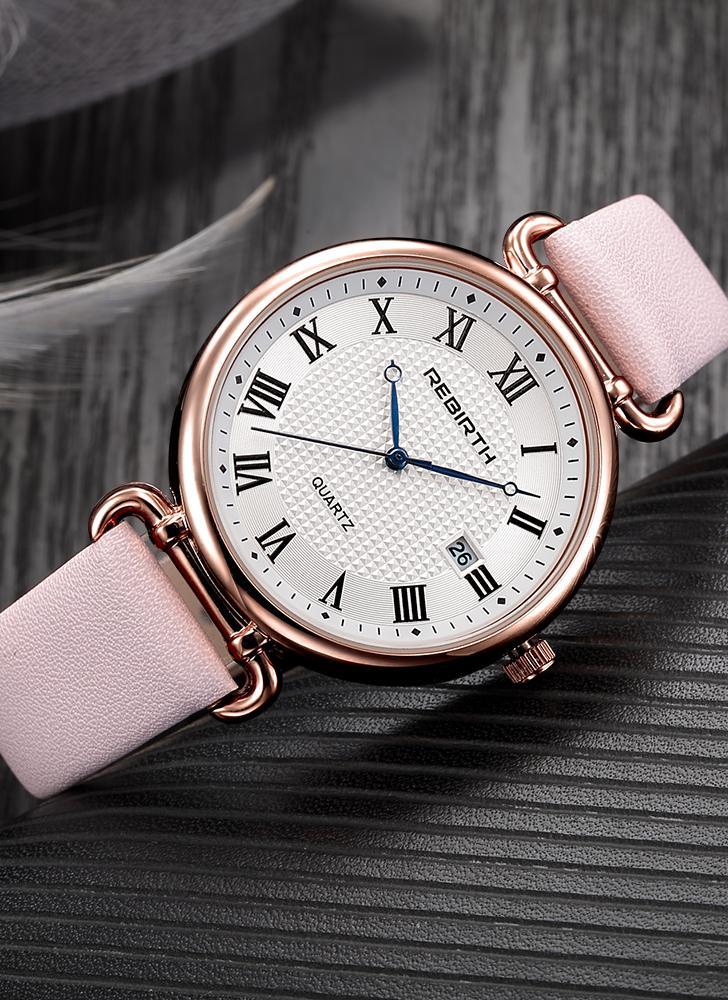REBIRTH Relógios de mulher de moda 1ATM Quartz resistente à água Casual Relógio de pulso simple Relogio Feminino