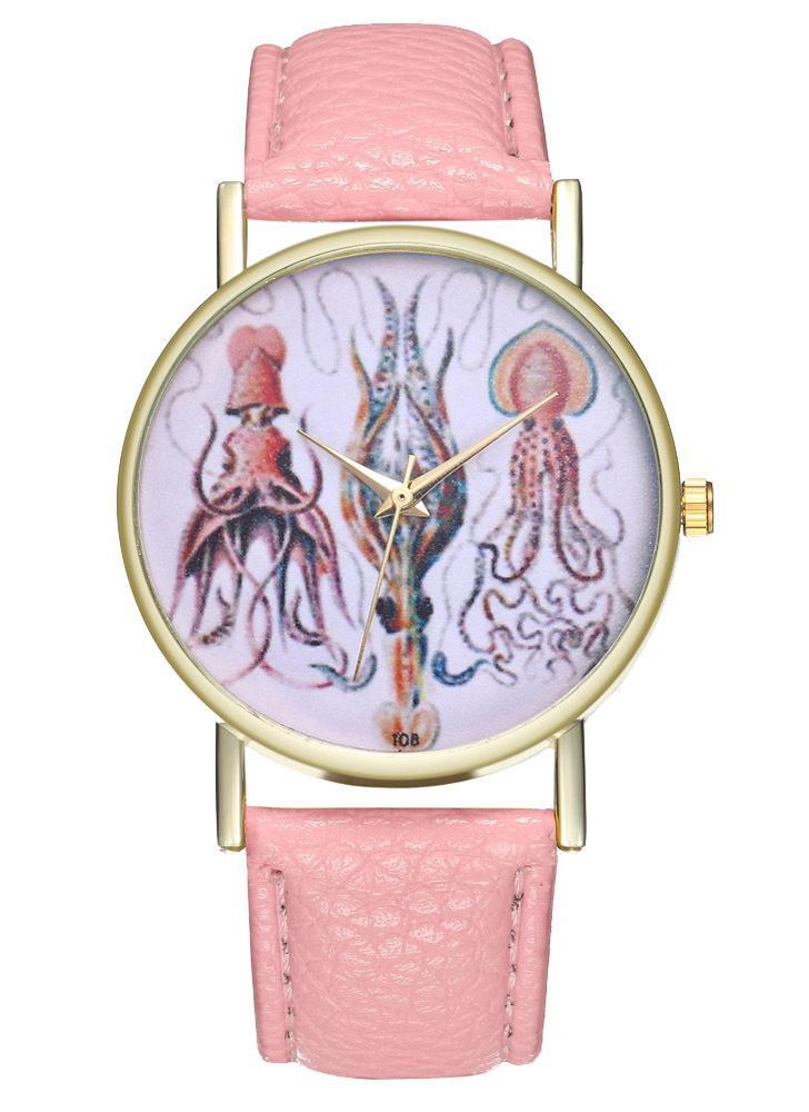 Vintage Tintenfisch Illustration Leder Watch für Frauen Herrenuhr Geburtstag Hochzeit Geschenk Ideen T08