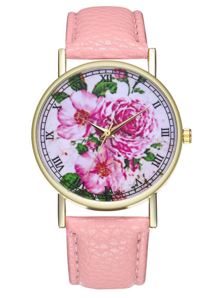 8a9ef74ad8e Flor rosa Do Vintage Floral Relógio De Couro para As Mulheres Homens  Assista Idéias Do Presente