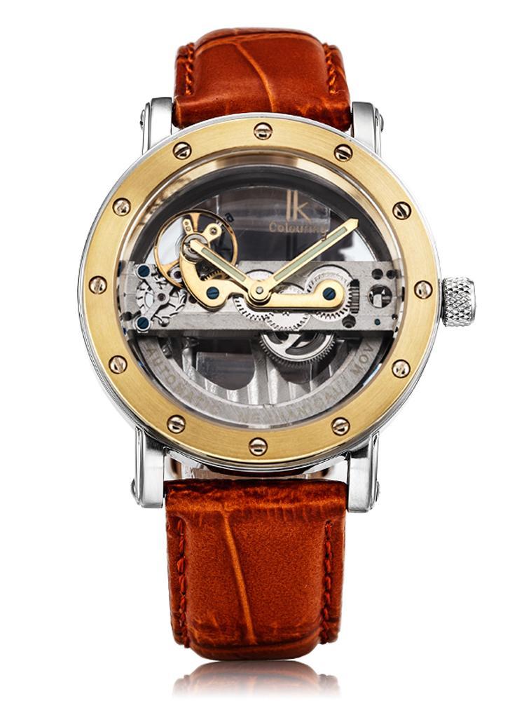 f291ccef90b IK CORANTES Homem de luxo auto-enrolamento automático relógio mecânico 5ATM  resistente à água de