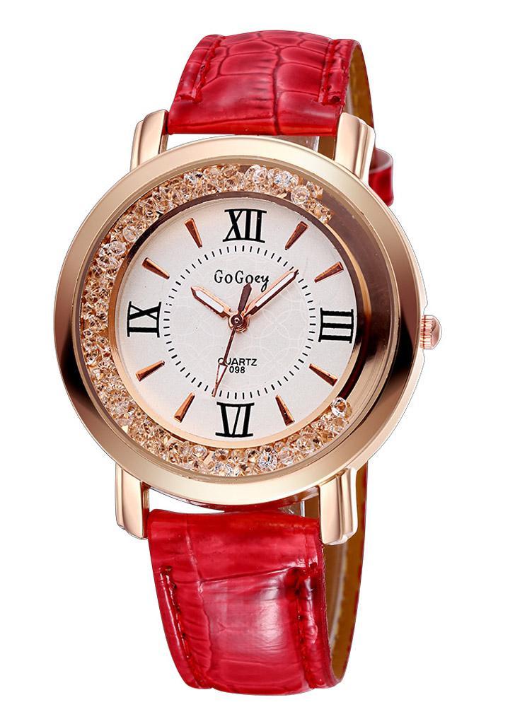 GOGOEY nuevo Moda PU Casual cuero cristal de diamante de diamantes de  imitación reloj vestido mujer 1722c7ef0831