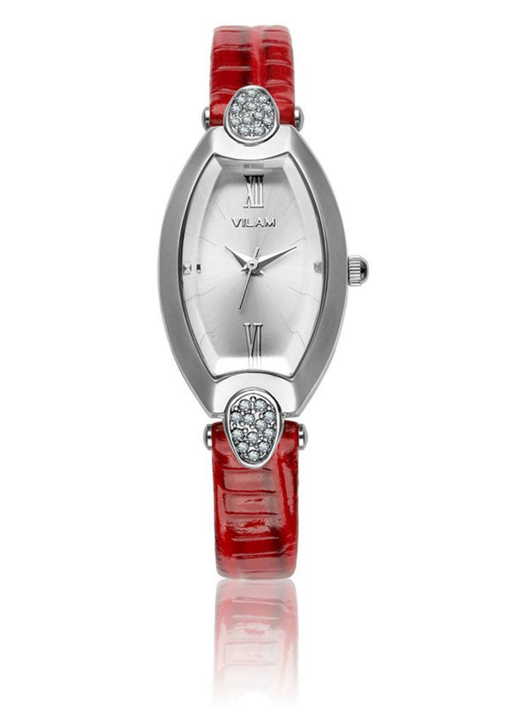 Vilam fresco de la manera con estilo mujeres de la marca de mujer de cuarzo reloj cristalino del Rhinestone 3 ATM resistente al agua cuero de la PU correa de reloj de pulsera analógico