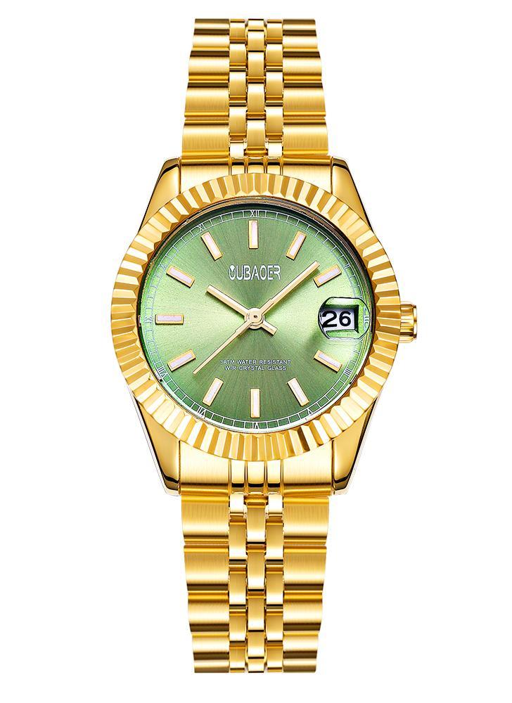 OUBAOER Moda Relógios de luxo de aço inoxidável para mulheres Quartz 3ATM Relógio de pulso ocasional resistente à água Relogio Feminino Calendário