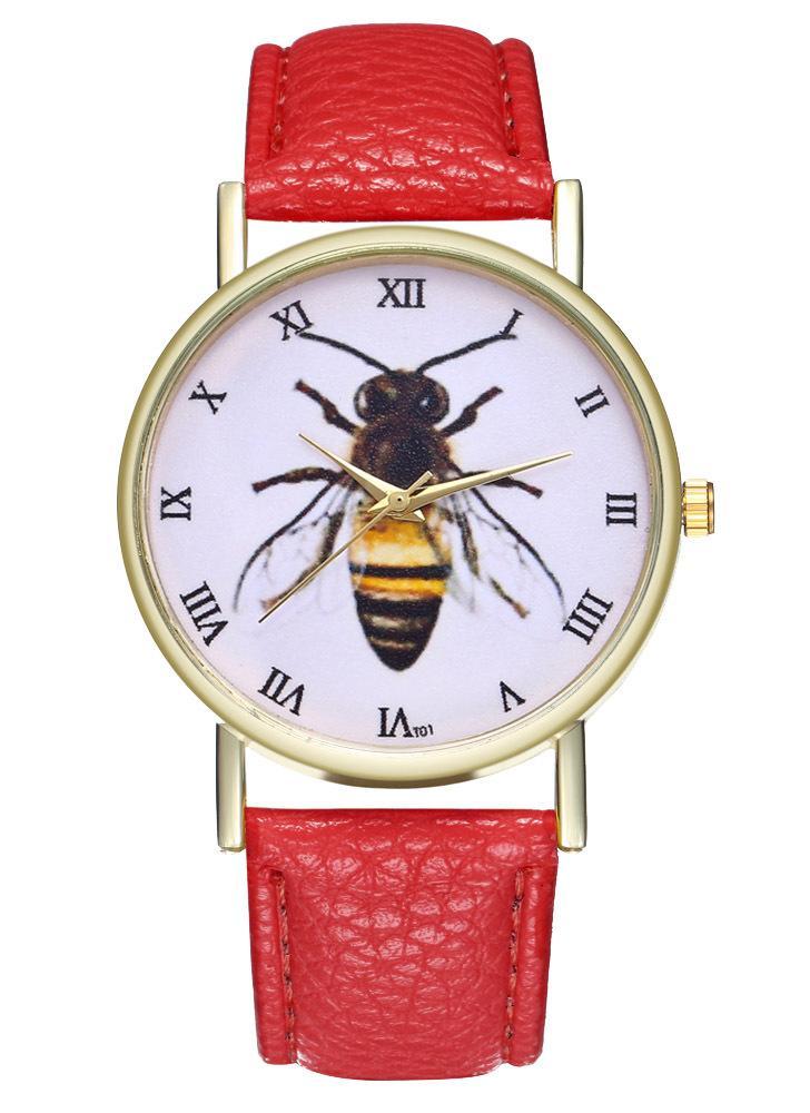 Reloj de cuero de insecto de abeja de la vendimia para mujeres Reloj de hombre Ideas de regalo de boda de cumpleañosT01