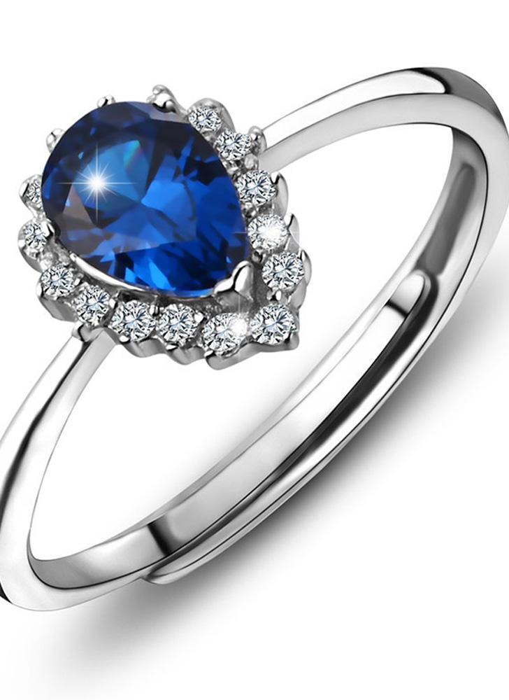82819e540544 Romacci moda hermoso corazón diamante CZ 925 plata de ley ajustable  abertura cóctel anillo mujeres chica