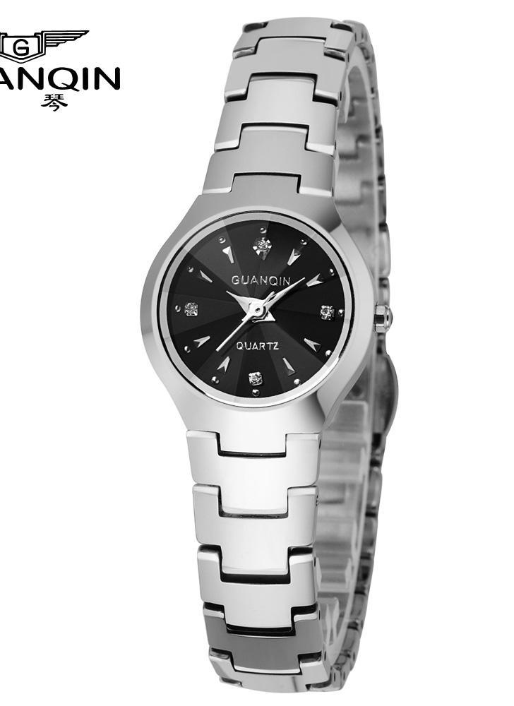 3cf569ddf9383 GUANQIN 2016 lusso strass donne Brand moda orologi tungsteno acciaio  impermeabile quarzo orologio per signora