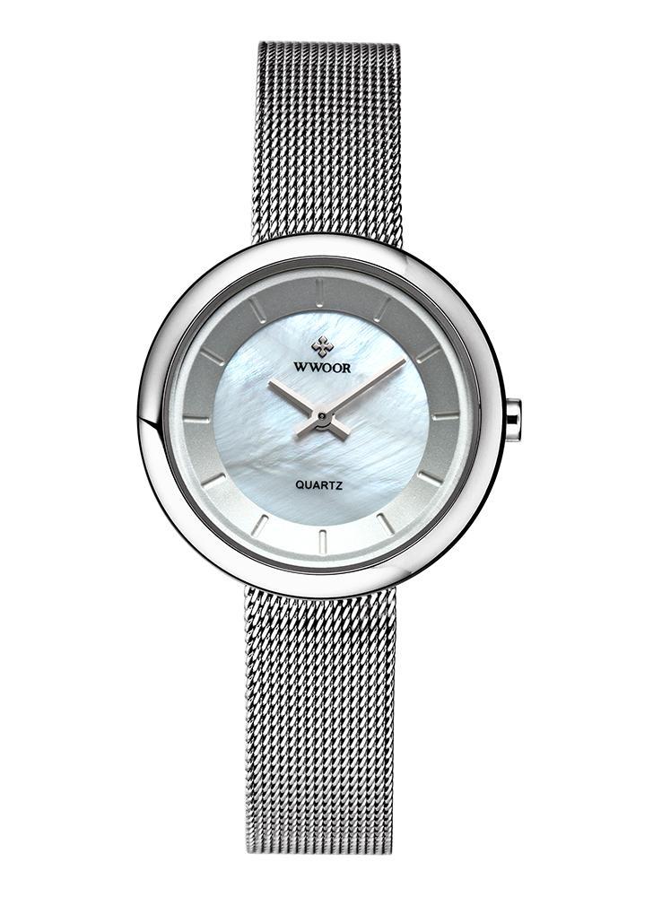 WWOOR ultra finas de moda de lujo marca de acero inoxidable malla mujeres relojes