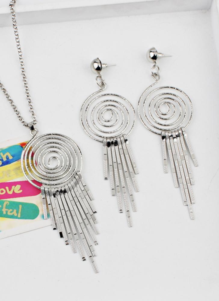 silber Mode übertrieben Swirl Gear Circle Spiral Ohrringe Halskette ...