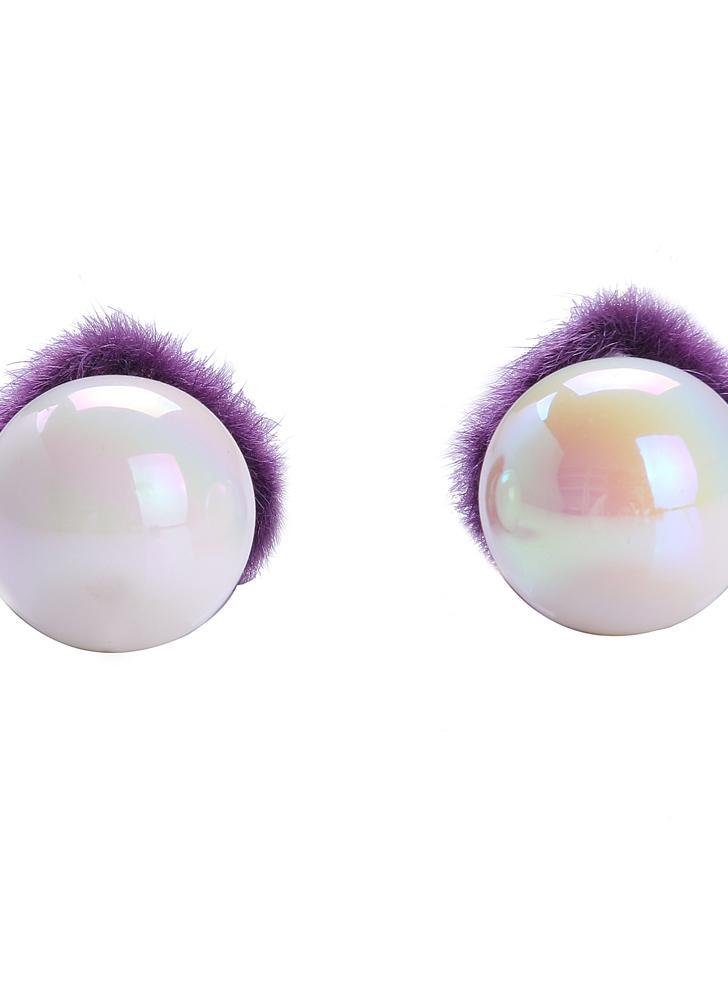Moda Charme Dupla Face Heart Shaped Fur Bola de vidro da liga de zinco ouvido jóias Stud por Mulheres Presente da menina