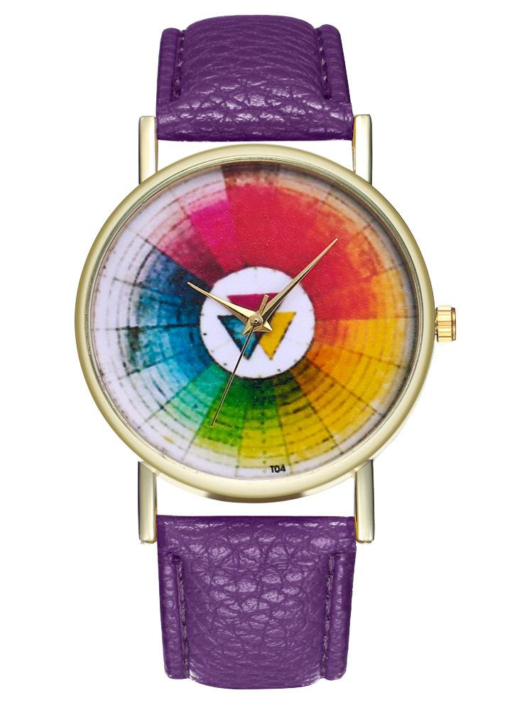 Vintage Color Wheel Swatches Classic Style Leather Watch for Women Men's Watch Birthday Wedding Gift Ideas T04