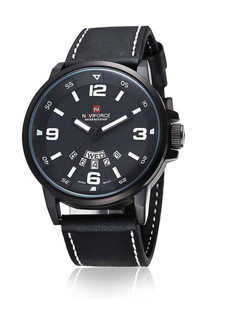 NAVIFORCE prático 3ATM água resistência de pulso PU couro cinta alta qualidade relógio de quartzo com função da semana da data