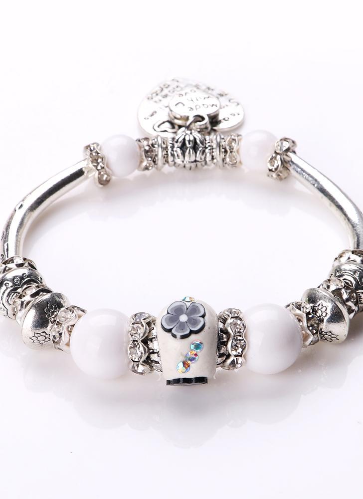Mode Unique Vintage Retro Femme Fille Plaqué Argent métal en alliage de zinc Bracelet Perles Strand Charm Fine Jewelry Party Gift