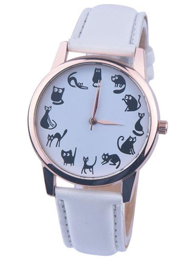 OKTIME nueva moda de dibujos animados poco gato patrón de cuarzo mujeres relojes