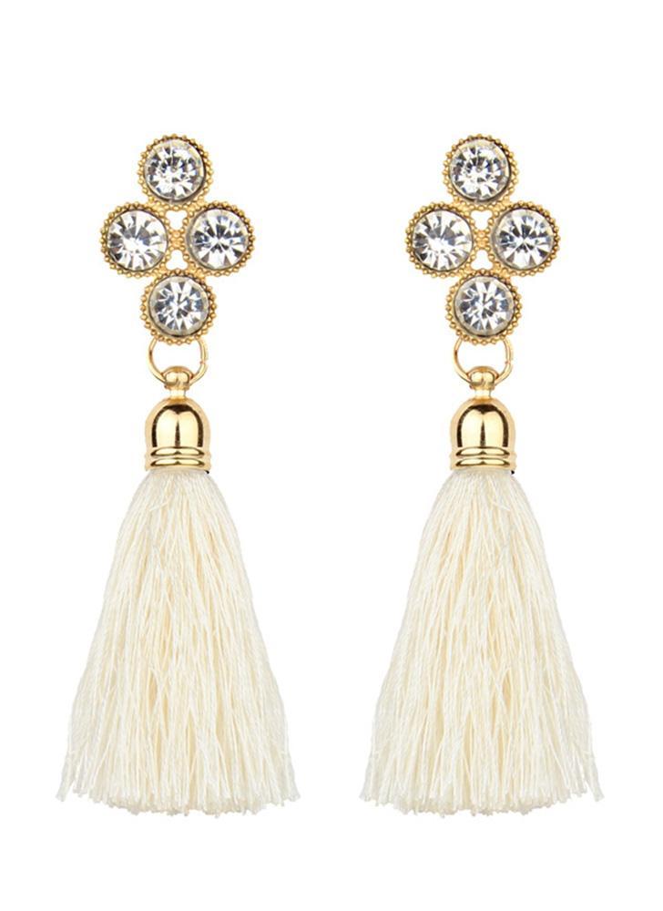 Las mujeres de moda Rhinestones Cuerda de lana Borlas Pendientes Magníficas joyas Retro Pendiente de Gota