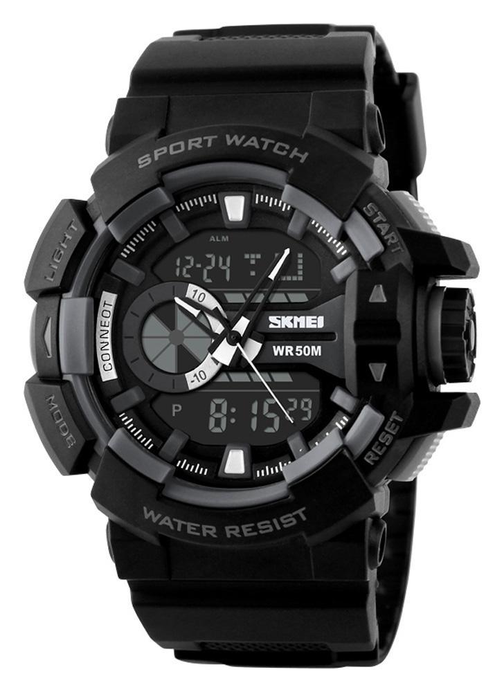 SKMEI marca de moda de senderismo Deportes Electronic Schoolboy PU reloj de cuero