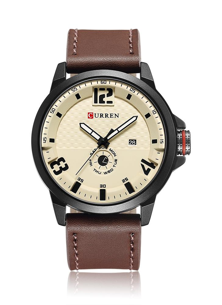 22175209d19 CURREN 2017 Cool PU Cuir Quartz Hommes Montre