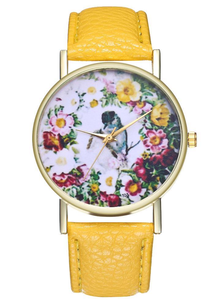 Pássaros do amor do vintage estilo clássico flor de couro relógio para mulheres homens assistir idéias de presente de aniversário de casamento t03