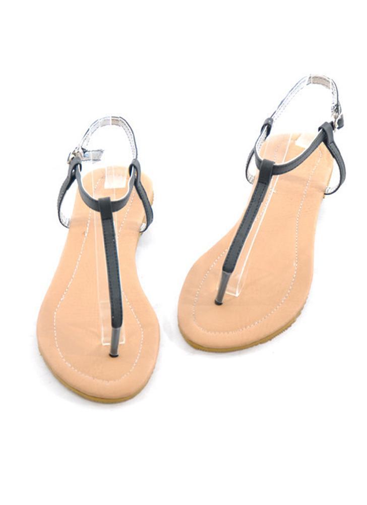 4e1cc4cf8 Nova moda mulheres plano sandálias T-Toe Post pino correia de fixação  simples sapatos Flats