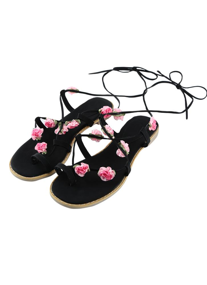 Sweet PU Leather Lace Up Strap Flower Flip Flop Flats Sandals