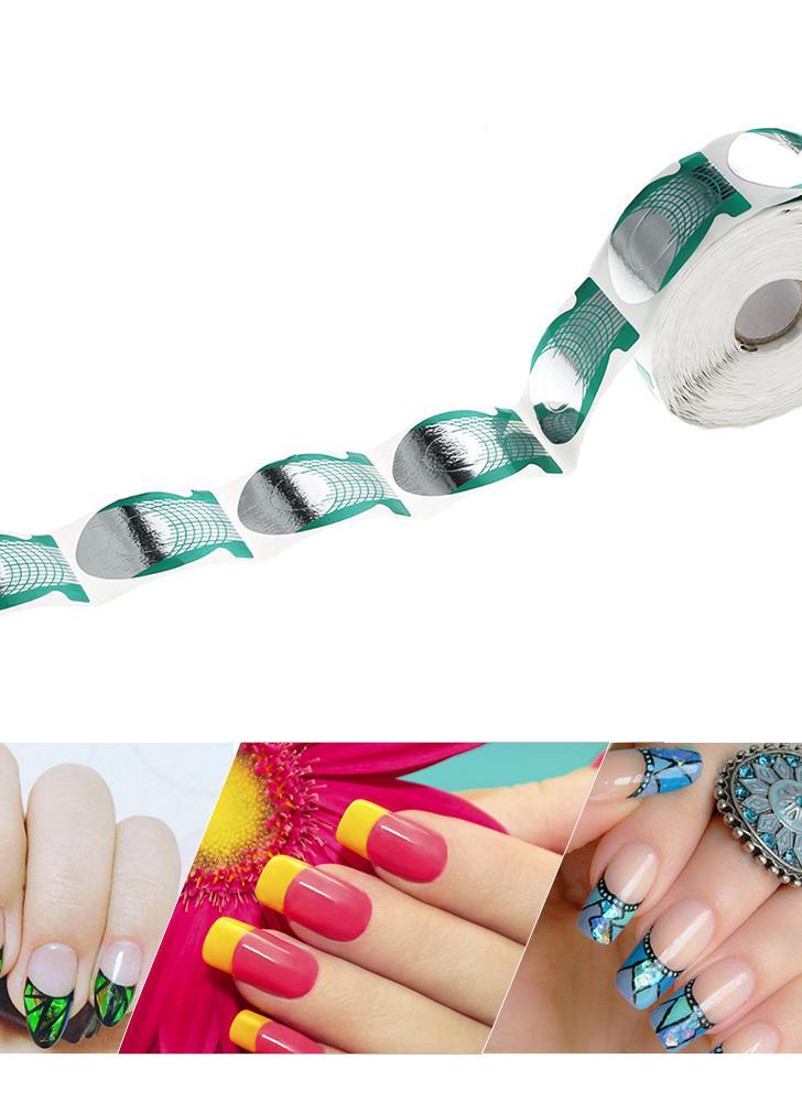 500Pcs/roll Nail Art Extension Form Guide UV Gel Fish Shape Sticker ...