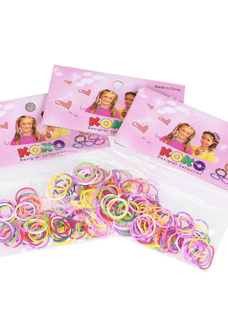 12 Sacos / 1200Pcs Elastic Hair Bands Rings Cordas descartáveis Rubber Band Candy Color Hair Accessory Ponytail Holder