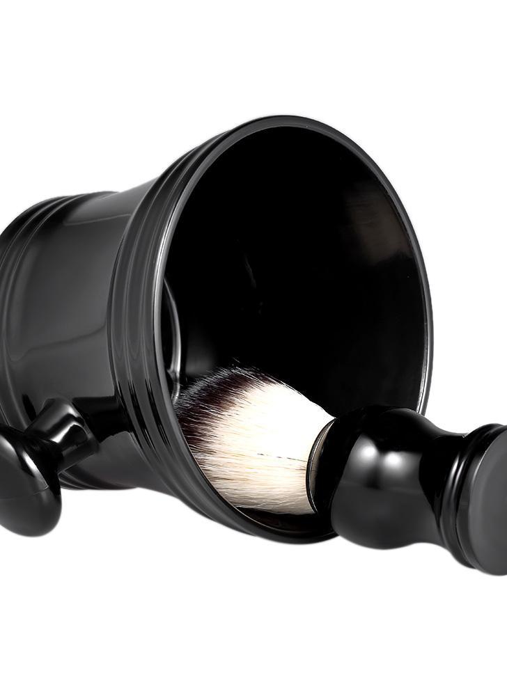 2pcs barba tradicional herramientas de afeitar Set Kit de afeitar mojado brocha de afeitar taza Tazón Home Barber's Black