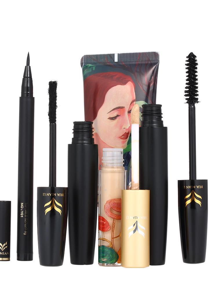 HUAMIANLI 4pcs Cosmético Maquiagem Set Liquid Foundation Concealer Eyeliner Pen 3D Fiber Lash Mascara à prova d'água