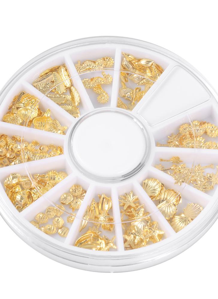 3d gold metall nail art tipps marine organismus muster scheibe diy nagel dekoration aufkleber mix designs - Muster Fur Gelnagel