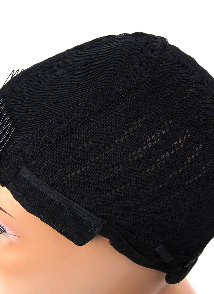 Adjustable Black Wig Caps Braided Crochet Wig Caps Cornrow for Making Wig Weave Hair Nets with   Synthetic Weaving Braids Cap