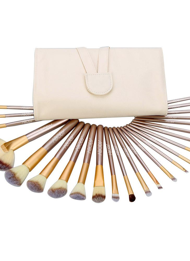 Abody 24Pcs Conjunto de escova de maquiagem profissional Essential Kit com saco branco