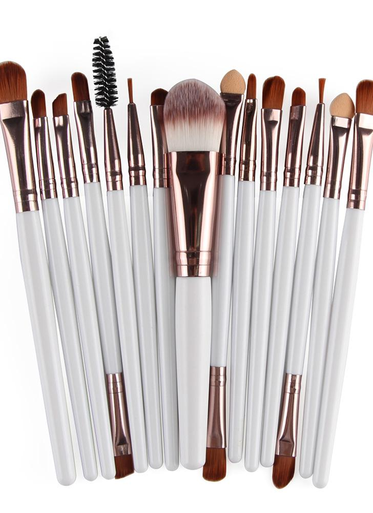 15PCS Professional Eye Shadow Eyebrow Lip Makeup Brush Tools Projeto de lã Pinceau Maquillage Professionnel
