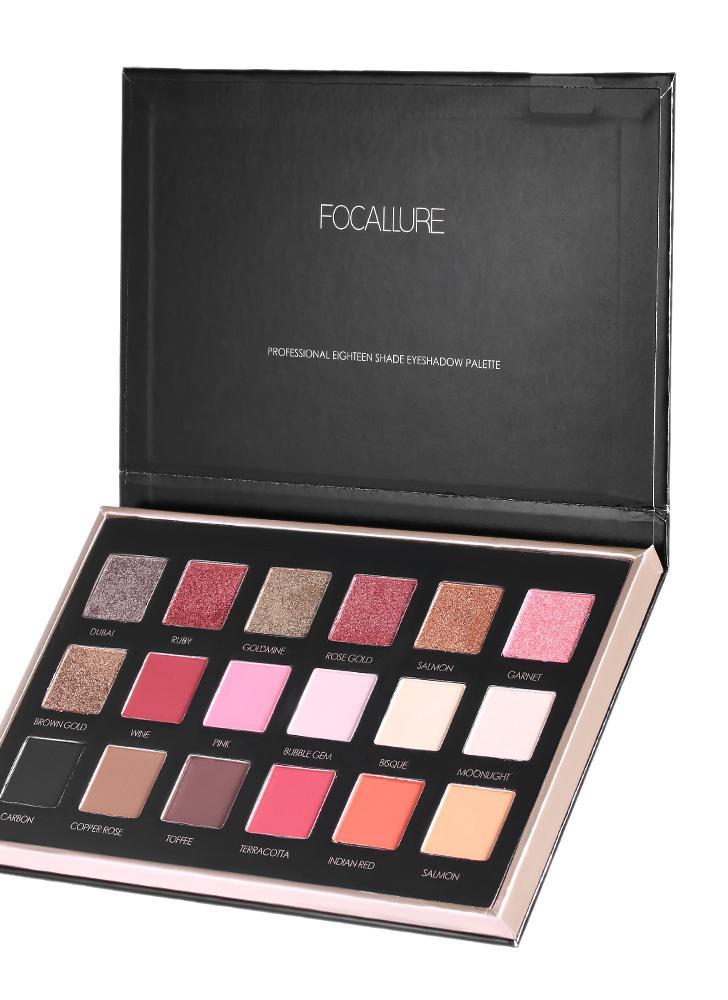 FOCALLURE Paleta com sombra de olho de 18 cores com diamantes matte com sombra de olho Set 01BRIGHT LUX