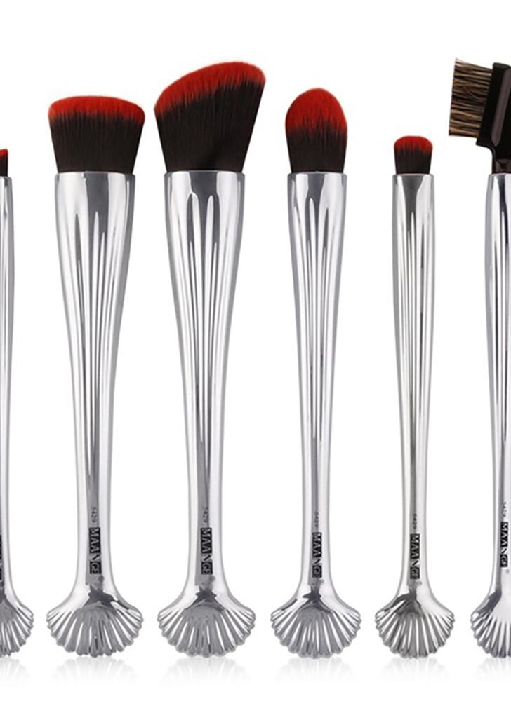6 stücke Silber Shell Kosmetik Make-Up Pinsel Set Foundation Power Kontur Lidschatten Brau Blending Schönheit Make-Up Tool Kits