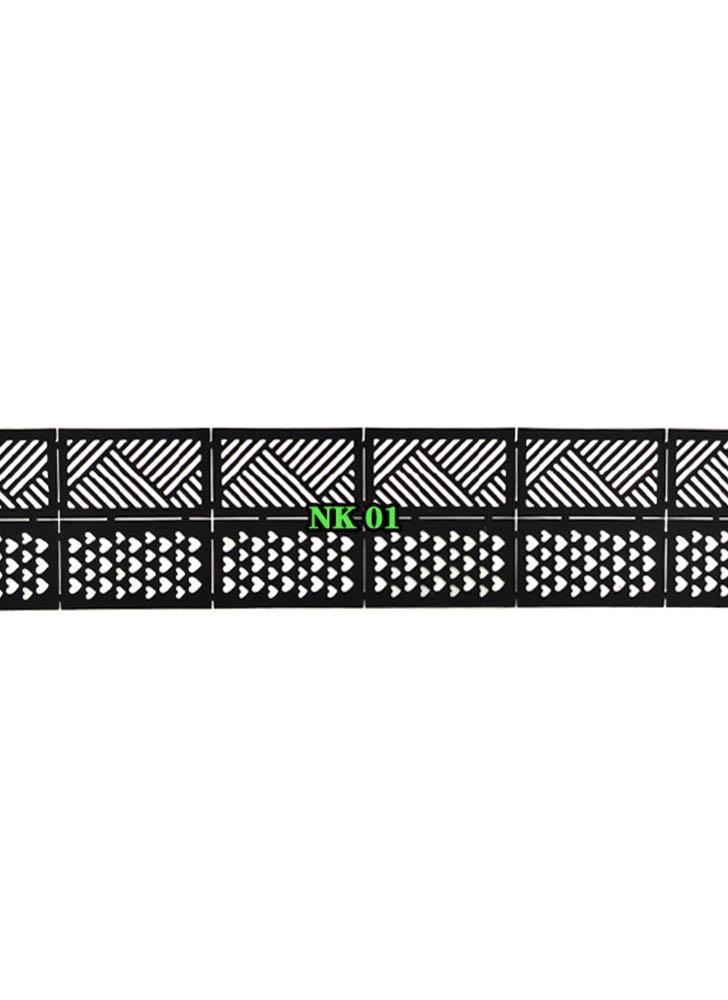 12 Hojas Adhesivo de Vinilo Adhesivo Ultrafino Plaid Net Line Hollow 3D Nail Stencil Pegatinas para Manicura Nail Art Decoration