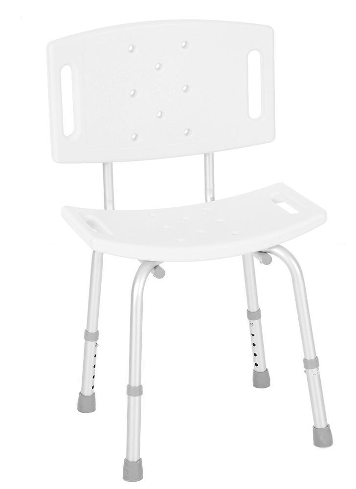 Medical Shower Chair w/ Detachable Backrest Adjustable Legs White