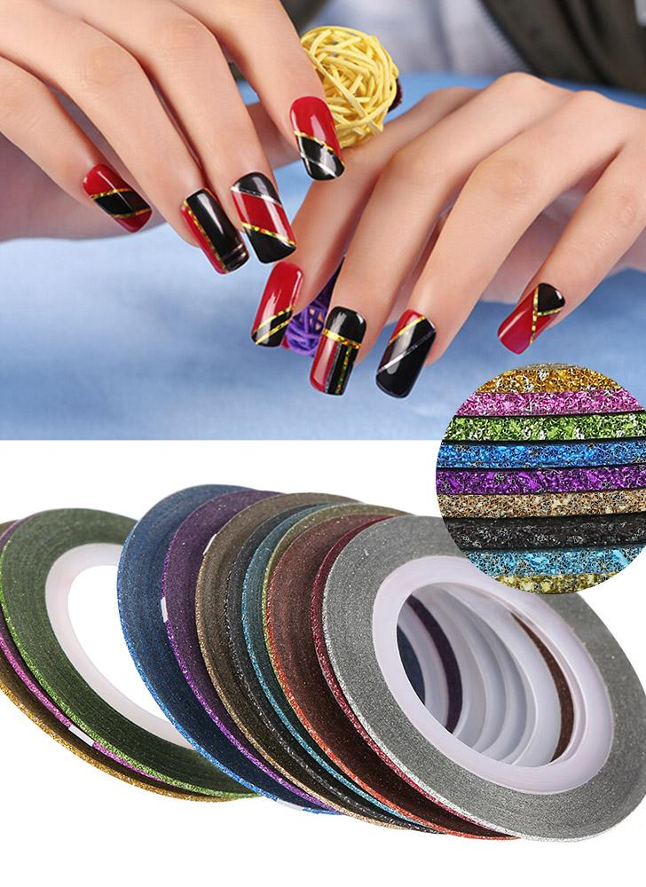 12pcs Couleurs mélangées Nail Art Designs Sticker Shiny Rolls Thin Striping Ruban Glittery Ligne bricolage Styling Nail Art Conseils Décoration Sticker Mode