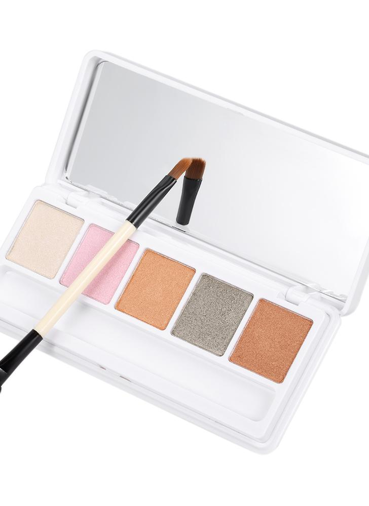 PNF 5 Colors Eyeshadow Palette Women Cosmetic Neutral Warm Eye Shadow with Mirror & Double-sided Brush Eye Makeup Kit