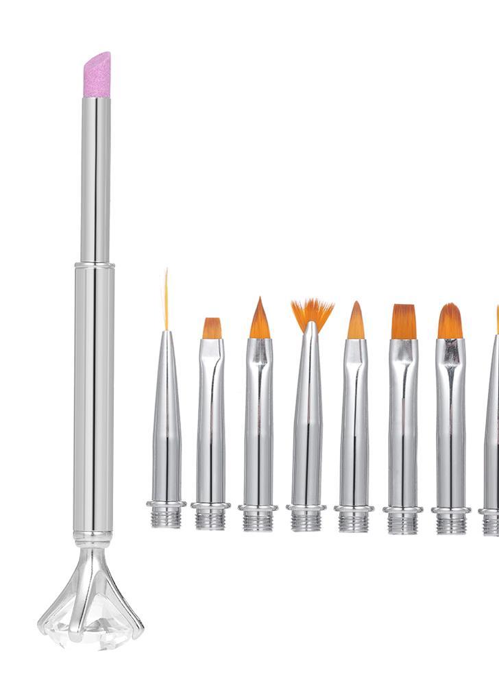 10 en 1 conjunto de pluma de uñas cambiante pintura de uñas delineador de pincel pintura de gradiente de gel UV pulir cutícula quitar kit de manicura