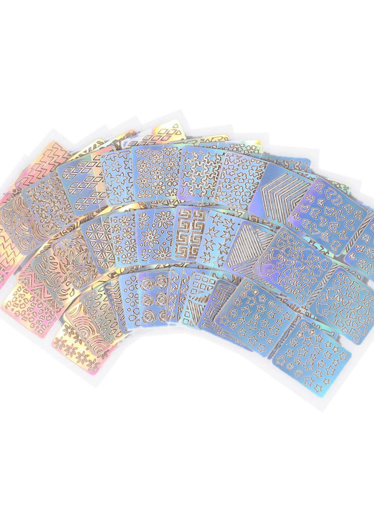 12pcs / set gli autoadesivi del manicure del chiodo modellano i modelli misti frange francesi della grata del grunio del chiodo che stampano gli attrezzi di arte del chiodo del modello