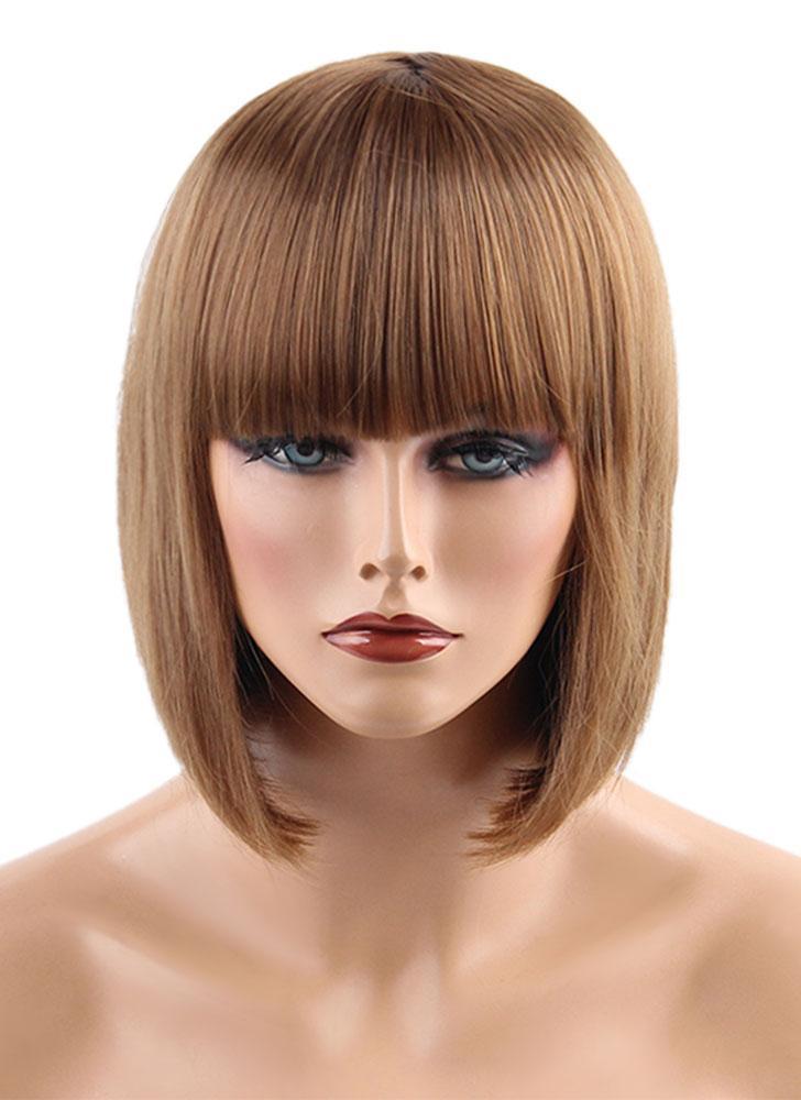 """11 """"cabelo peruca mulher curto cabelo reto cabelo menina cabelo extensão cosplay cabelo cabeleireiro ferramenta marrom escuro"""