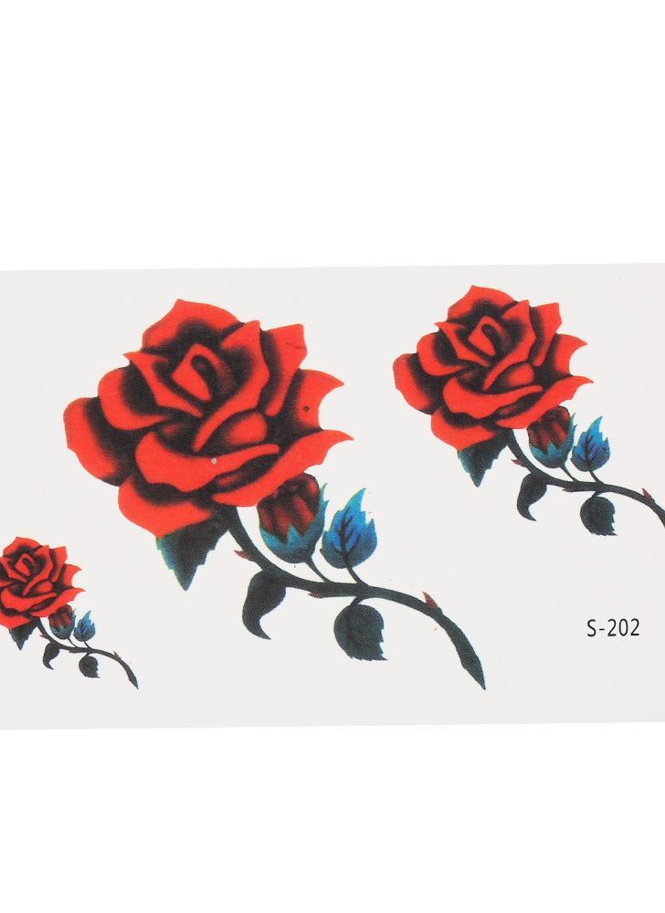 Extraíble a prueba de agua pegatinas tatuaje temporal Cráneo Rose flor Totem pluma cuerpo del brazo decoración del arte
