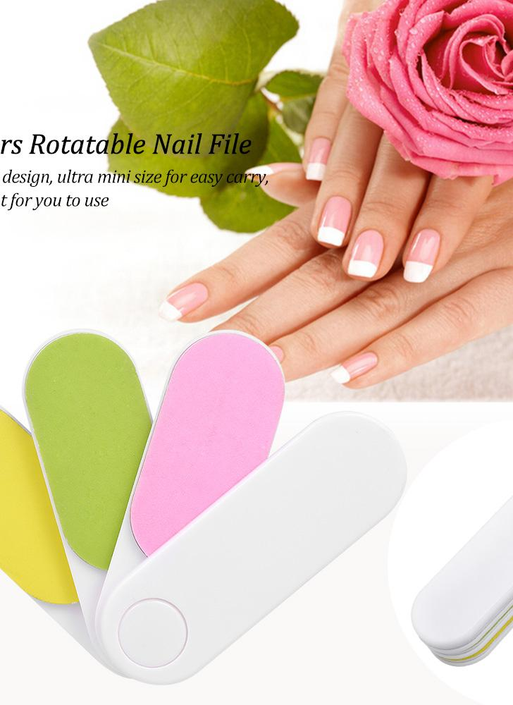 4 Colors Rotatable Nail File Professional Buffer Rotating Files Polish Manicure Tools