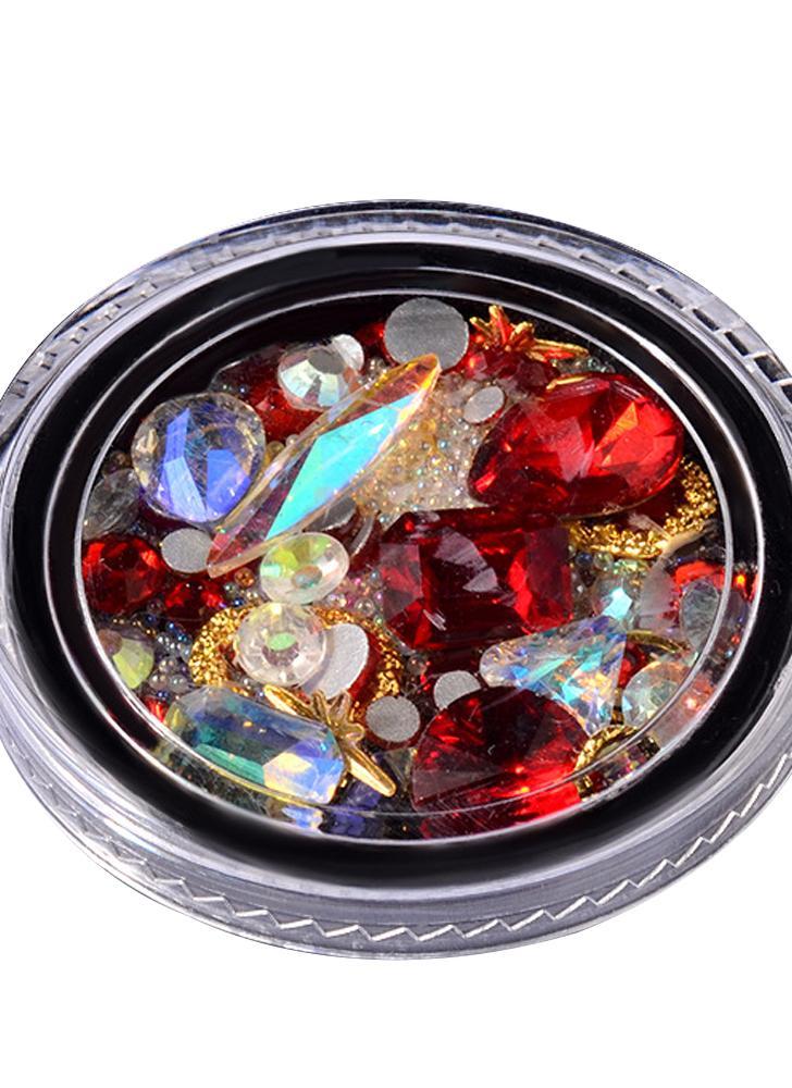 Red Nail Art Diamond Decoration Sharp in the Bottom Transparent Single Crystal Glass Diamond Beads