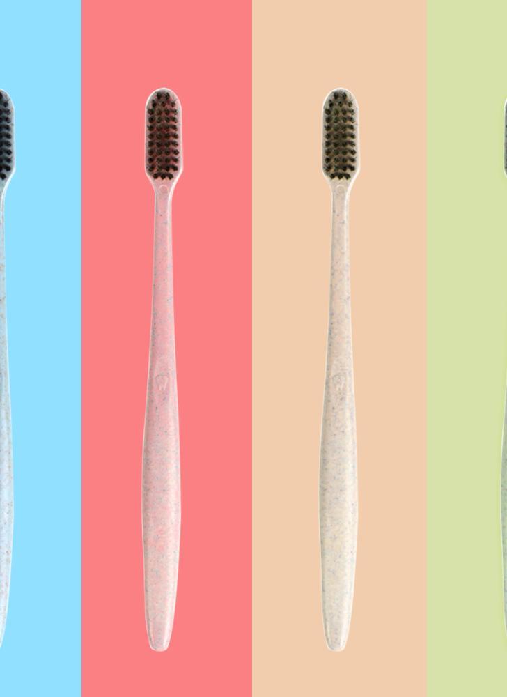 10pcs paja de trigo suave cepillo de dientes de carbón de bambú negro cepillo de dientes cuidado oral para niños y adultos
