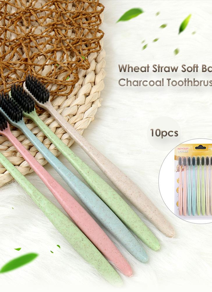 10pcs Wheat Straw Soft Bamboo Charcoal Toothbrush Black Tooth Brush Oral Care For Kids And Adults