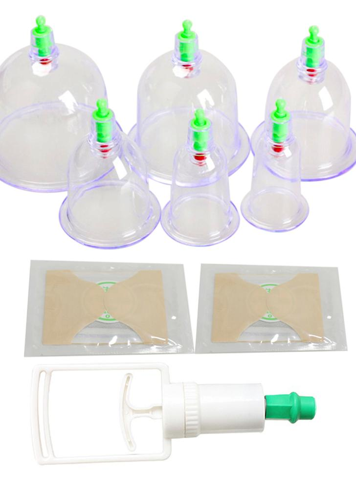 Ensemble de 6 cuillères à vide chinois massage tasses ventouses Tirer sous vide ventouses massage santé ventouses ventouses ventouses avec bâton Moxa