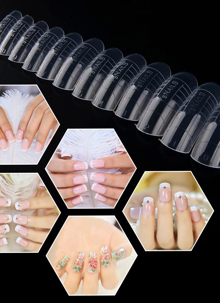 312Pcs / Pack Clear Art Faux ongles Conseils française pleine couverture Acrylique Nail Mold Avec Outils d'échelle False Nail Art Tips